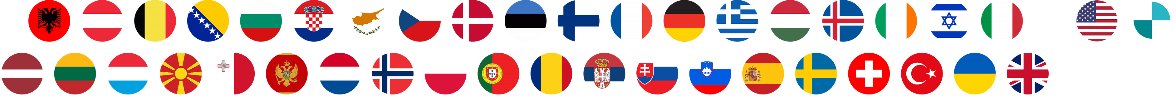 Country flags of all participating countries in a 2x12 grid
