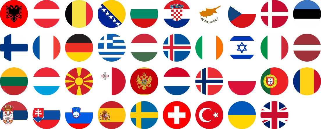 Country flags of all participating countries in a 4x6 grid